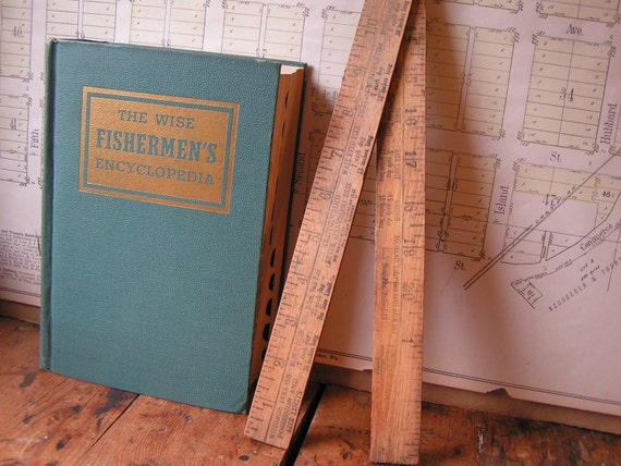 Vintage Advertising Folding Ruler for measuring fish - Wisconsin Fishing Laws from 1946
