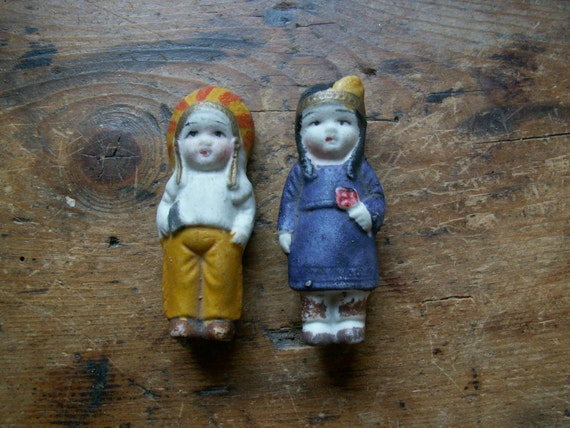Vintage Pair of Native American Porcelain Figurines - Indian Chief and Squaw