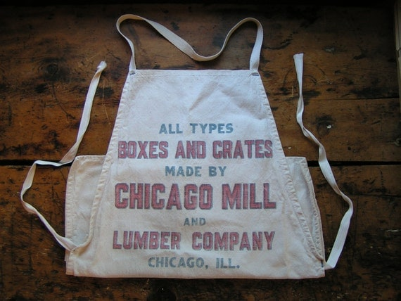 Vintage Chicago Mill and Lumber Company Long Work Apron