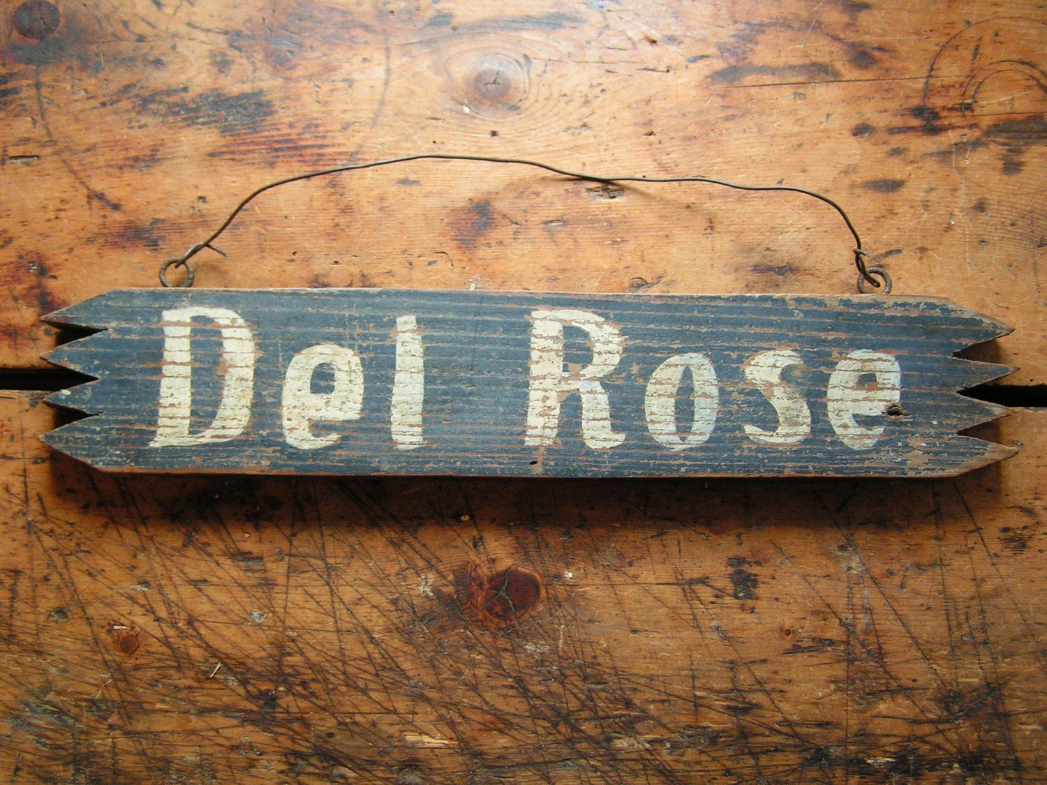 Vintage Wood Horse Stall Name Plate Del Rose by CopperAndTin