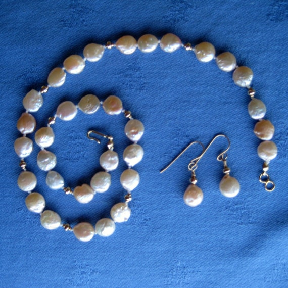 Champagne Color Cultured Coin Pearl Necklace Earring Set