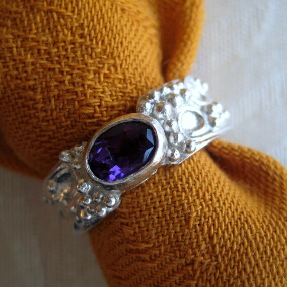 Ancient Style Band Ring in Amethyst & Heavy Silver, Size 8 and a Half
