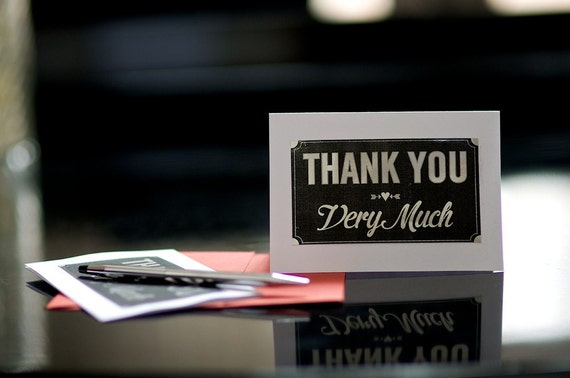 Shiny Silver Thank You Notes