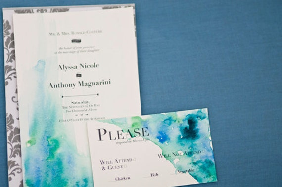 Items similar to Watercolor Wedding Invitations on Etsy