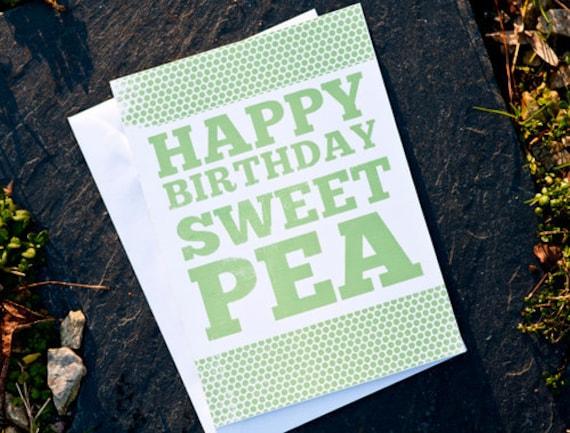 Items Similar To Happy Birthday Sweet Pea Card On Etsy