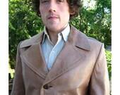 60's Vintage Men's Spanish Leather Coat Luxe 44 Mod
