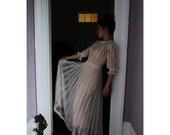 Vintage White Crochet lace Wedding Dress Victorian Boho hand crochet medium