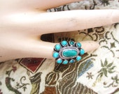 Big Old Multi Stone Turquoise Zuni Ring sterling size 4.