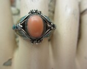 Magic Coral Enamel Sterling Butterfly Ring Antique China huge size 10