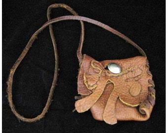 1970s Vintage Leather Handmade Hippie Bag shoulder bag