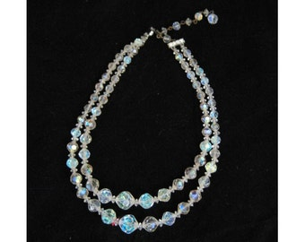 Vintage Necklace  Aurora Borealis Crystal Choker