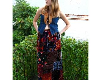 Vintage Hippie India Patchwork Velvet Maxi Skirt medium