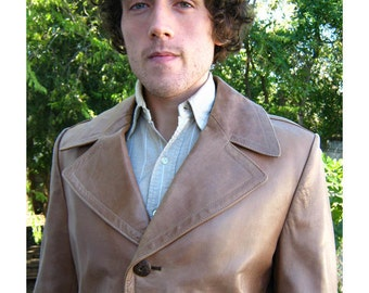 60's Vintage Men's Spanish Leather Car Coat Luxe 44 Mod