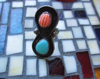 Indian Turquoise Spiny Oyster Coral Ring Navaho size 6 Sterling