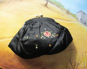 30s Vintage  French Silk Evening Purse Clutch w Rose