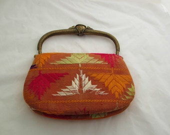 60s Vintage Antique India Silk and Brass  Purse