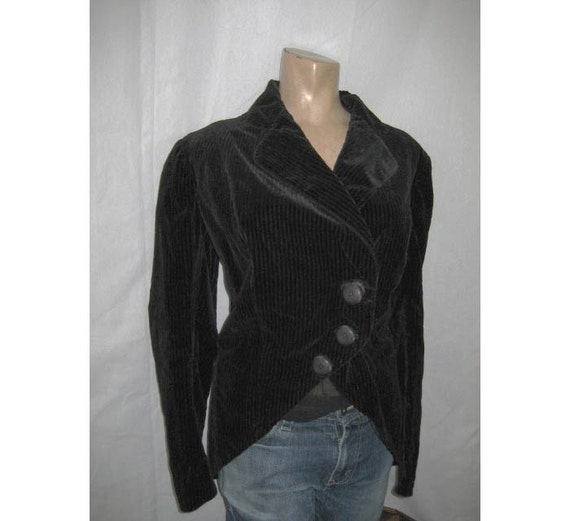 RESERVED for seakitten - Antique Edwardian Riding Walking Jacket Black Velvet Cord large