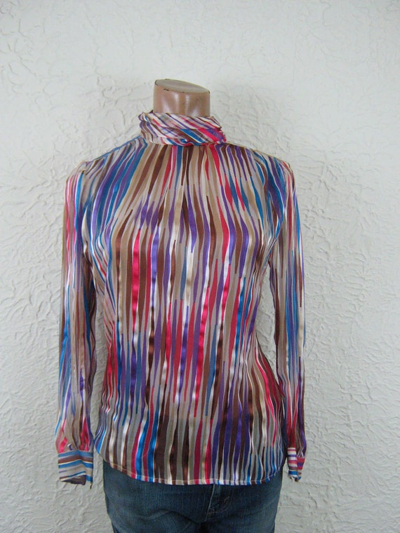Silk Chiffon Jewel Tone Striped Blouse Vintage Pretty Femme medium