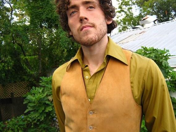 40s 50s Men's Vintage Vest Waistcoat soft suede wool knit back small medium