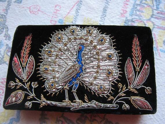 Embroidered Silver Peacock Black Velvet Wallet Vintage India Posh Pretty