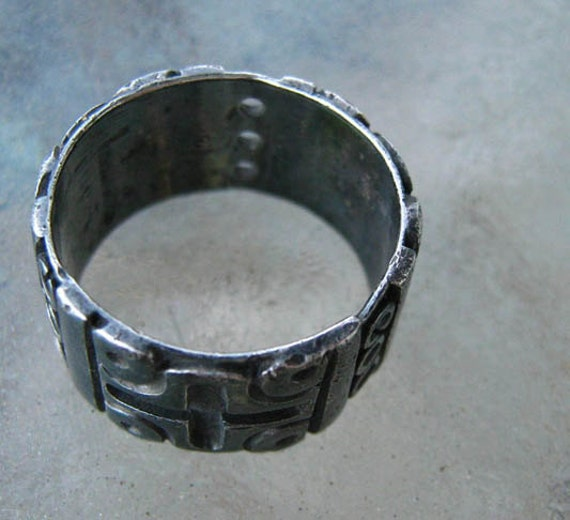 Vintage Mexican Sterling Wide Band Ring Mayan Goth 8. 75