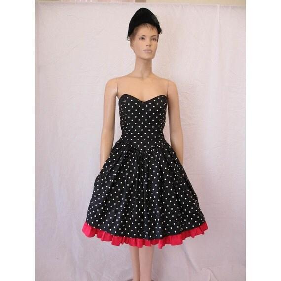 1950s Style Gunne Sax Polka Dot Party Dress With Red Crinoline Medium