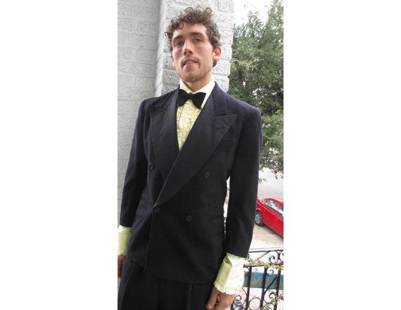 30s Vintage Men's Tuxedo Suit Black Double Breasted size 40 ch 34 w