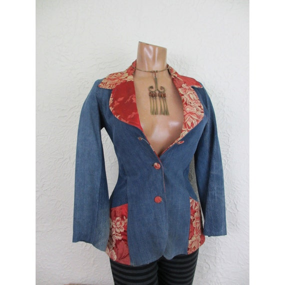 VTG Recycled Patchwork Denim Blazer Jacket hippie sm.