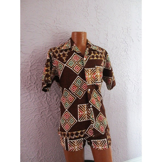 1960s Vintage Men's Hawaiian Cabana Set Swim Trunks Shirt medium