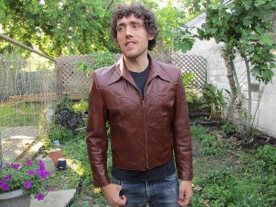 VTG Men's Western Leather Jacket Slim 42 made in USA