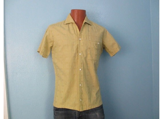 50s Vtg Men's Rockabilly Surfer Embroidered Button Down Shirt small