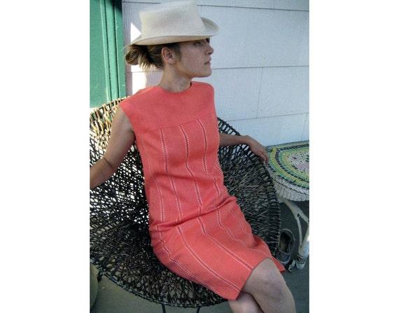 Vintage 1960s Mod Orange Sherbet Linen Shift Dress - Med