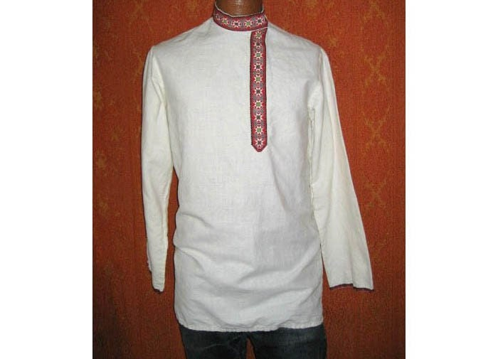60s vtg nehru russian peasant shirt for men
