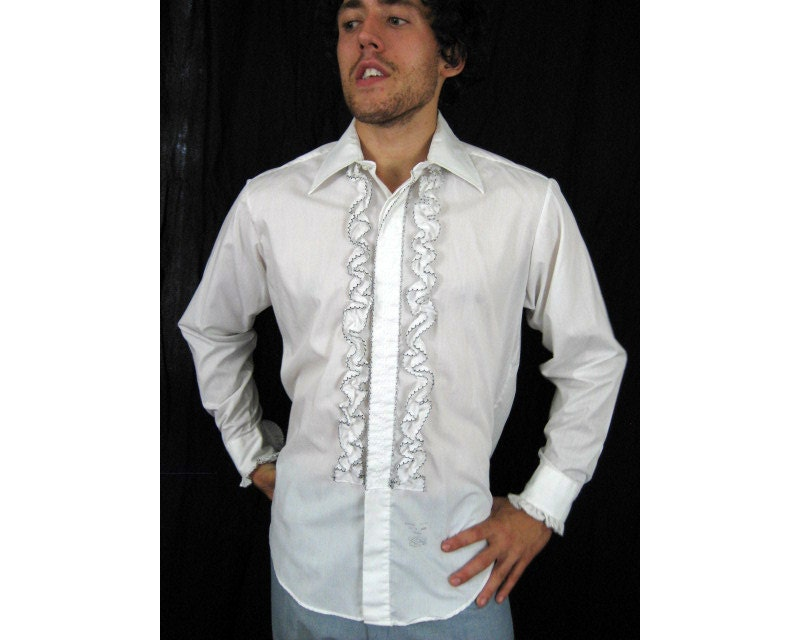 Vtg men ruffle lace tux shirt lion of troy men 39 s lg 33 for Frilly shirts for men