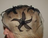 Vintage 50s Black Veil Hat with Flowers
