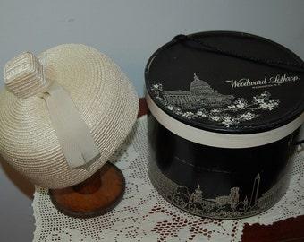 Vintage Pillbox Hat with Hat Box Woodward & Lothrop / Pillbox Hat / Vintage Hat / Washington DC / Straw Hat / Topknot /  Ribbon