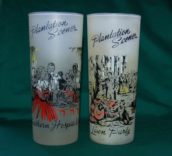 Frosted Iced Tea Glasses Plantation Scenes Set of 2 / Iced