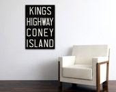 CONEY ISLAND New York City Distressed Subway Sign. Bus Scroll. Canvas 20 x 30 Rollsign Print