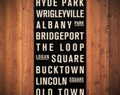 "CHICAGO Subway Sign. Bus Scroll. Destination List - Canvas 24"" x 48"""