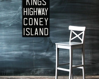 CONEY ISLAND New York City Vintage Look Subway Sign. Bus Scroll. Canvas 20 x 30 Rollsign Print