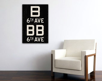 MANHATTAN & BROOKLYN New York City Distressed Subway Sign. Bus Scroll. Canvas 20 x 30 Rollsign Print