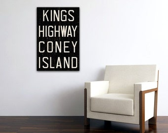 CONEY ISLAND New York City Distressed Subway Sign. Bus Scroll. Canvas 20 x 30 Rollsign Print