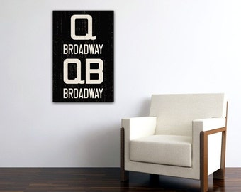 BROADWAY - Queens, Manhattan, Brooklyn - New York City Distressed Subway Sign. Bus Scroll. Canvas 20 x 30 Rollsign Print