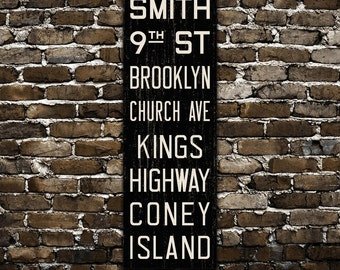 BROOKLYN New York City Distressed Subway Sign. Bus Scroll. Canvas 20 x 60 Rollsign Print