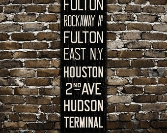 BROOKLYN & MANHATTAN New York City Distressed Subway Sign. Bus Scroll. Canvas 20 x 60 Rollsign Print