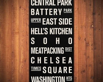 "NEW YORK CITY Subway Sign. Bus Scroll. Destination List - Canvas 24"" x 48"""