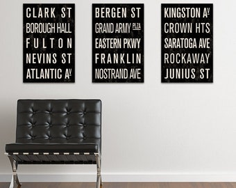 BROOKLYN Subway Sign Prints. Bus Scrolls (Collection of 3) - 12 x 18