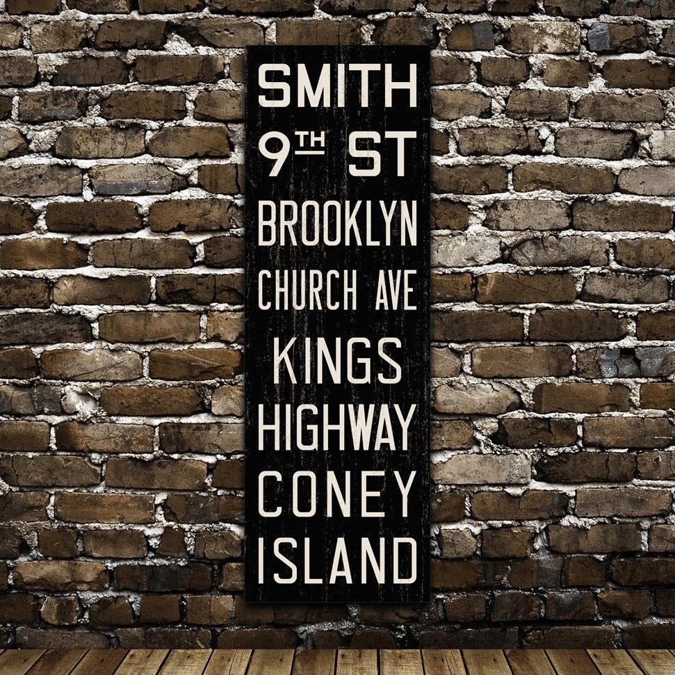 Brooklyn New York City Distressed Subway Sign Bus Scroll