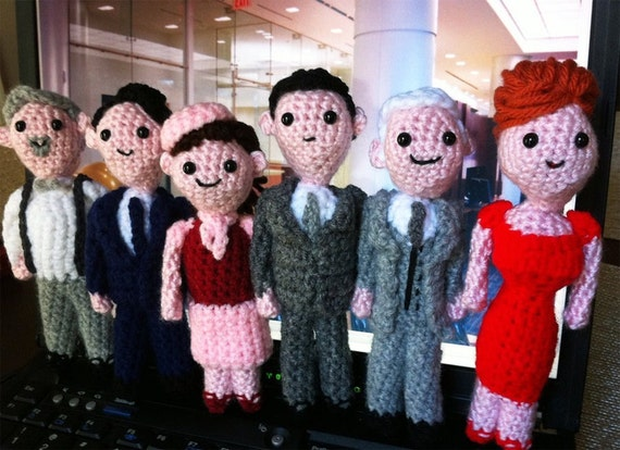 Mini Mad Men Crochet Cast of 6