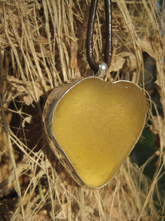 Heart Of Gold Seaglass Pendant